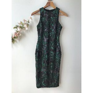 Dress the Population Sequin Midi Dress Green